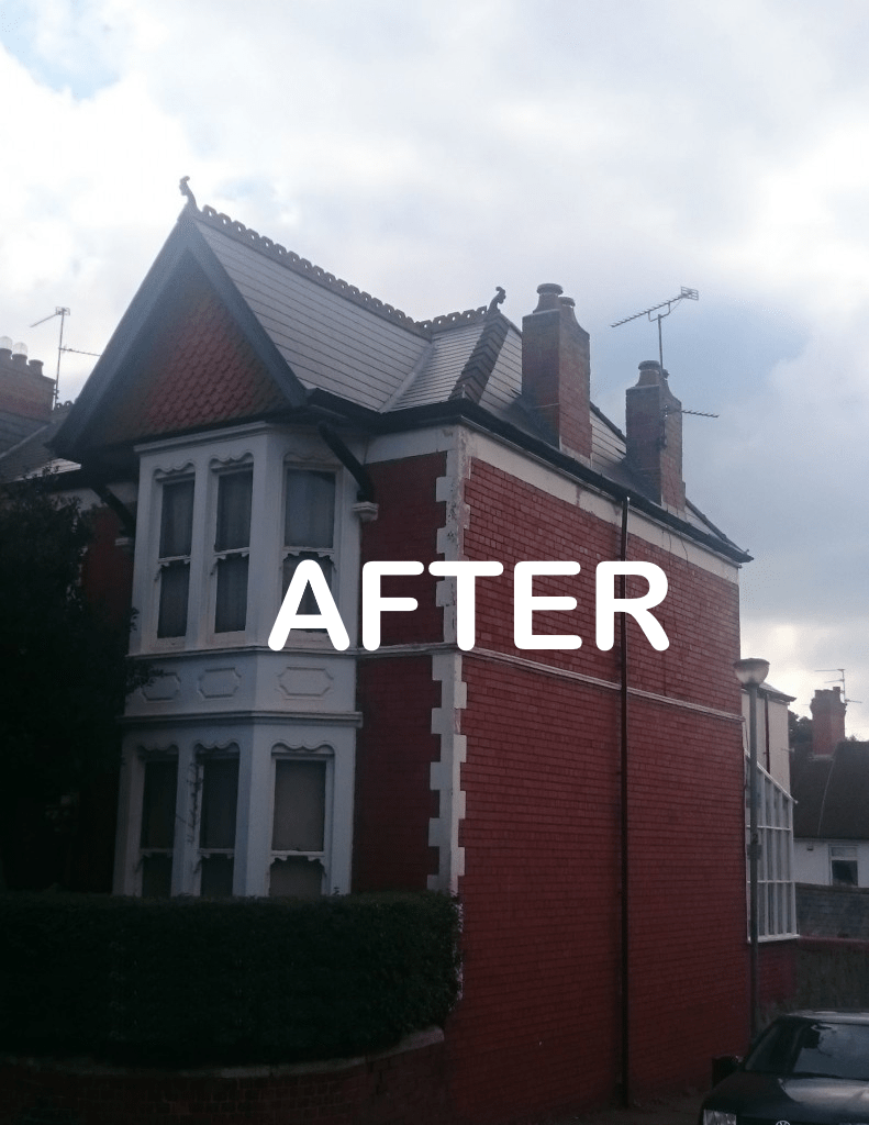 red brick house after roof renovation