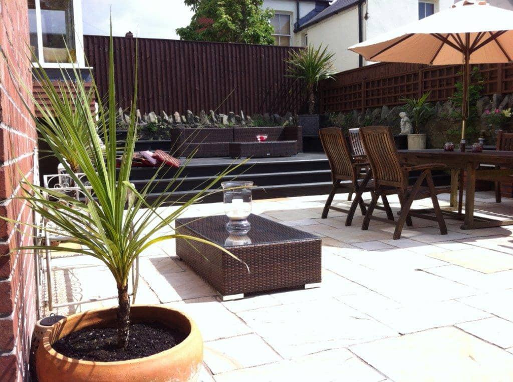 new patio in garden