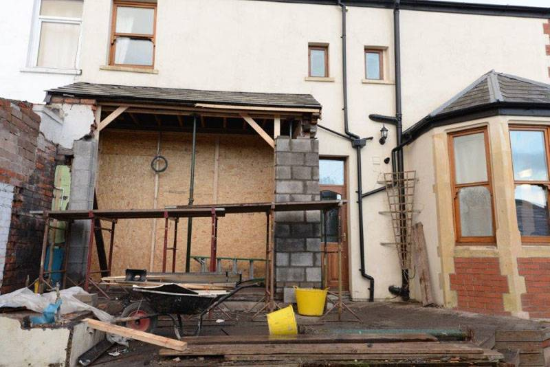new extension being built on property