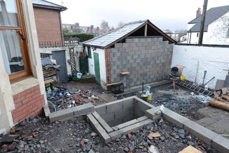 renovation groundworks outside property