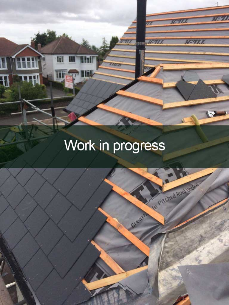 a new roof being installed