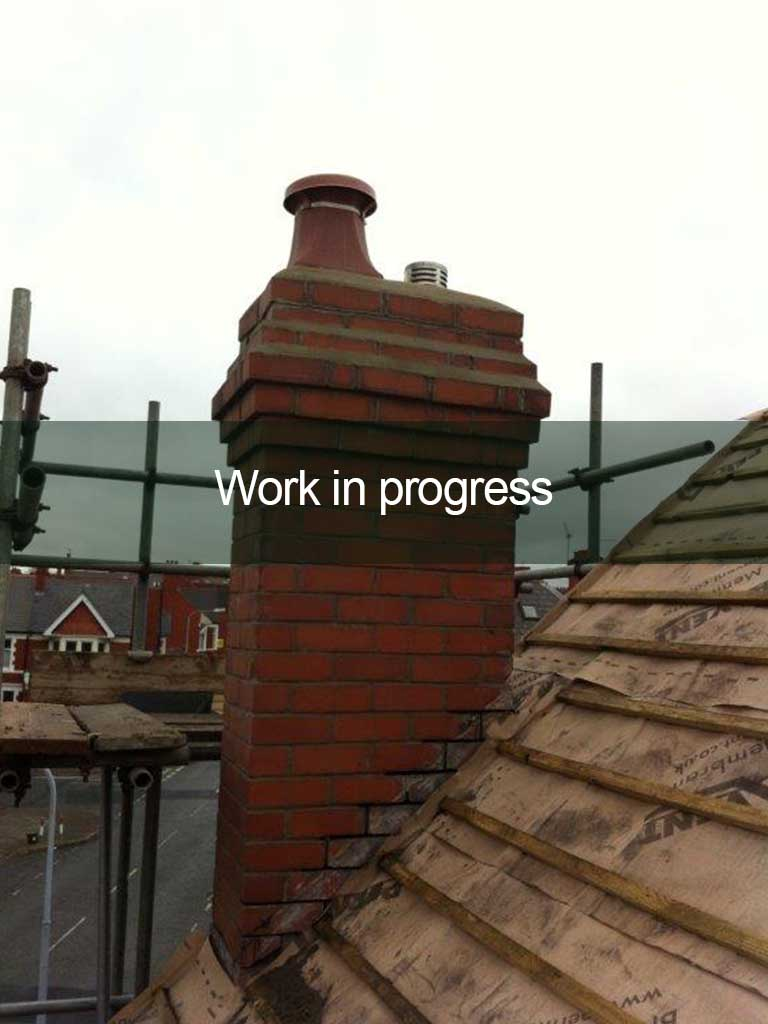 chimney repair in progress