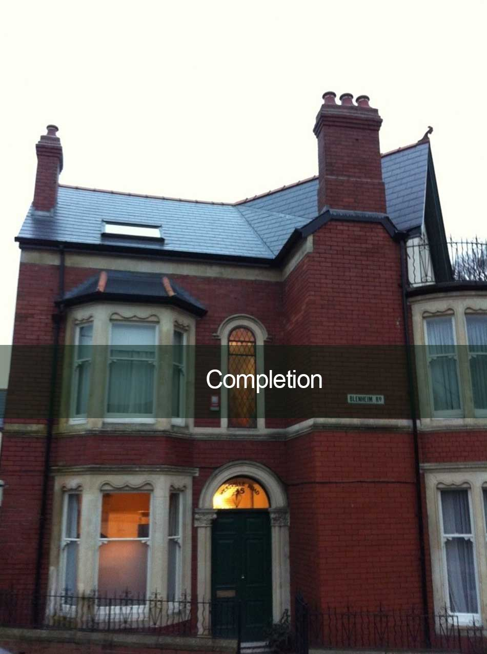 completed roofing and chimney work