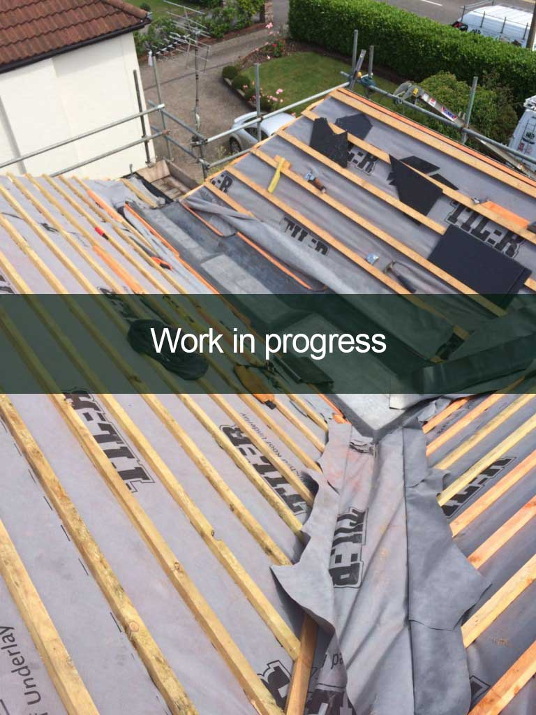 work in progress roofing installation